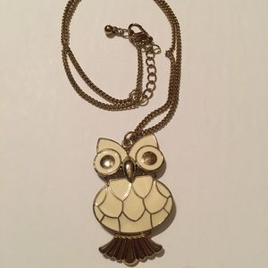 Gold And Cream Owl Necklace